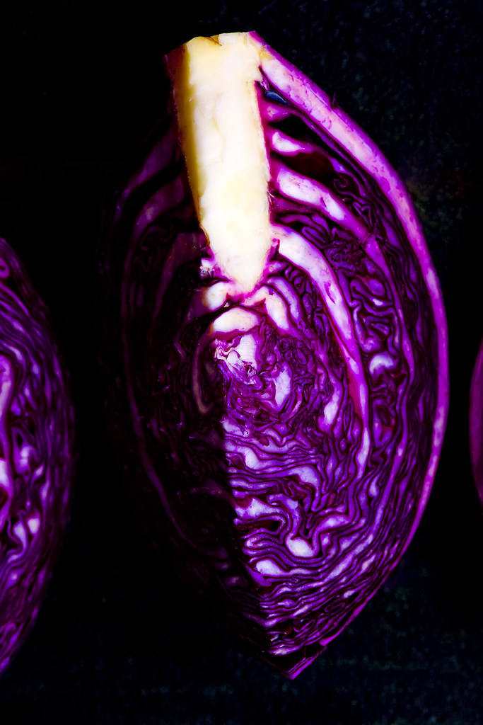 the head of cabbage of red cabbage