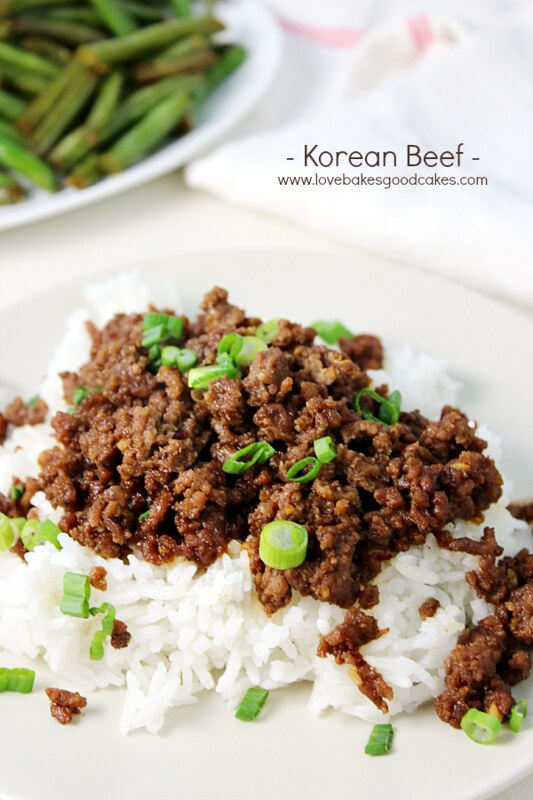 Korean Beef and rice on a plate.