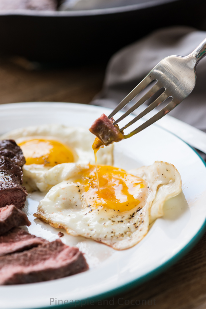 Man Food : Steak and Eggs www.PineappleandCoconut.com Sous Vide Steak and Bacon Fat Fried Eggs with @nomiku Sous Vide.