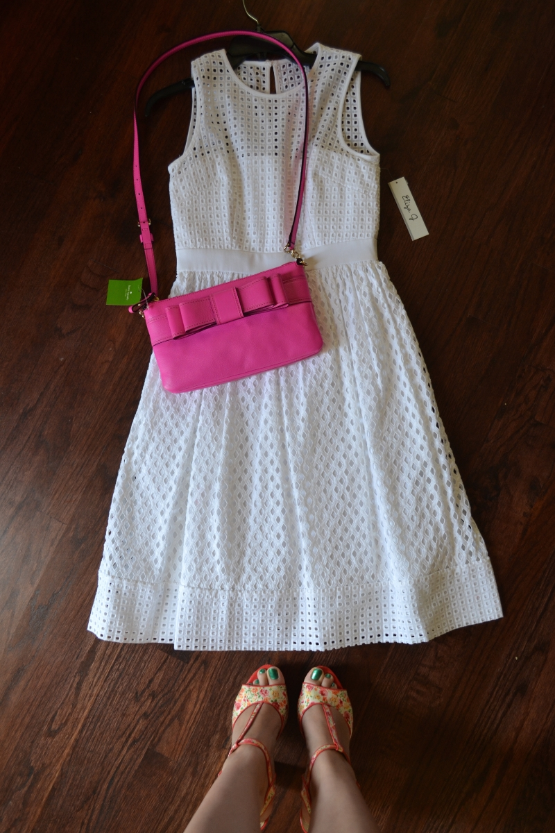 Kate Spade pink purse with white eyelet dress from nordstrom