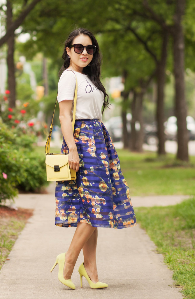 cute & little blog   petite fashion   graphic tee, blue striped floral organza full midi skirt, yellow crossbody purse, yellow pumps   spring summer outfit