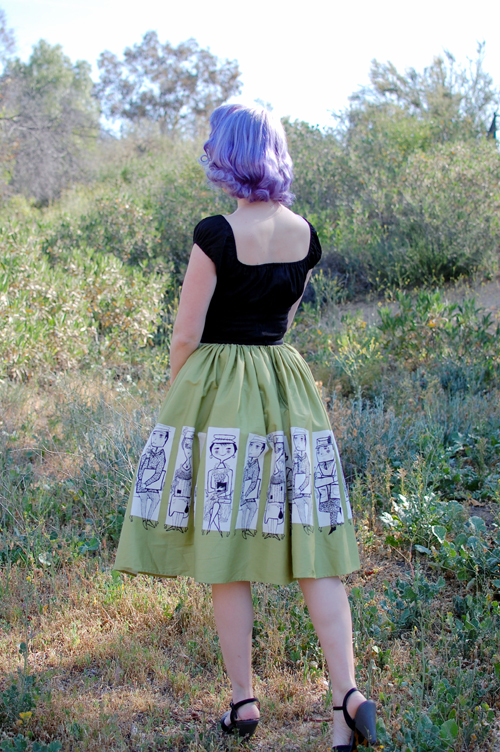 Pinup Girl Clothing Jenny skirt in Mary Blair Commuters Print