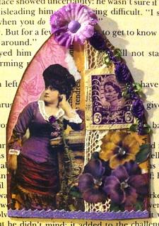 Pansy + Purple + Postage stamp ATC  #1