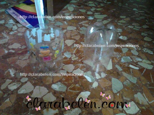 Manualidades de niños para hacer dulcero de botellas