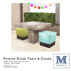 Unknown Hunt 2015: Painted Stone Table & Chairs Ad