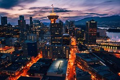 Early evening in downtown Vancouver