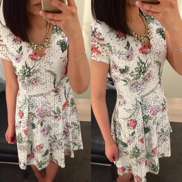 Ann Taylor Floral Eyelet Dress, size 0P