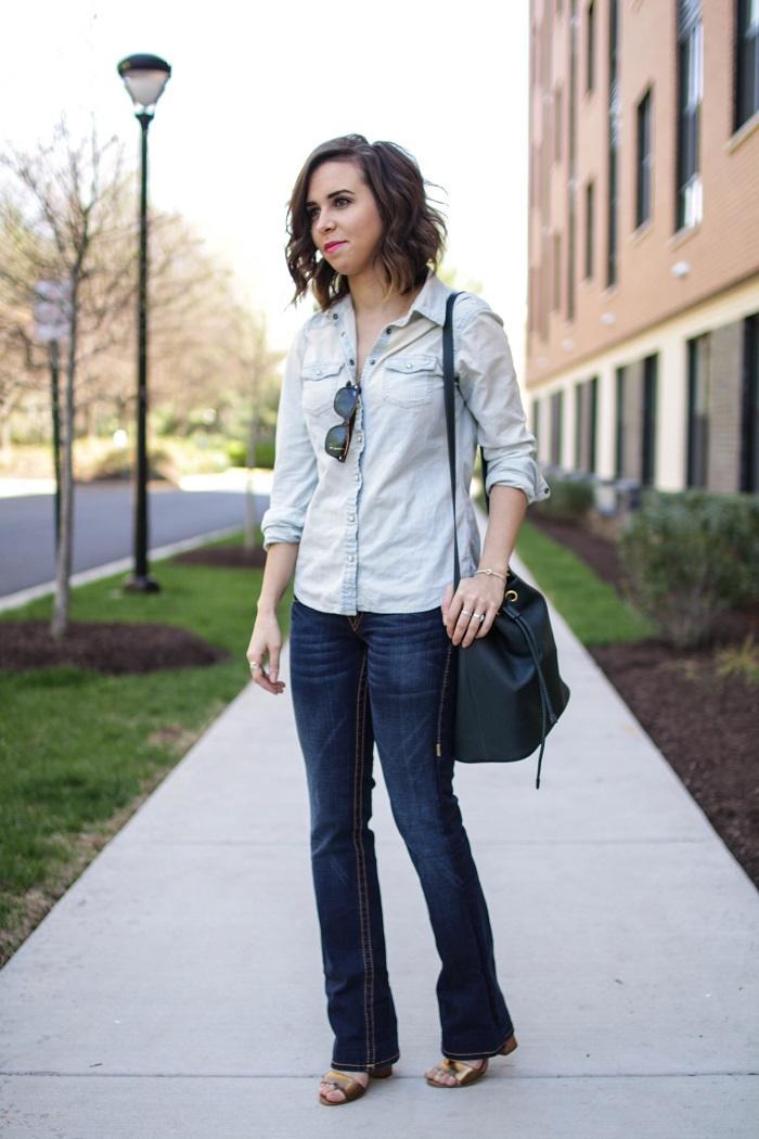 aviza style. a viza style. andrea viza. fashion blogger. dc blogger. spring style. outfit. denim on denim. chambray. bootleg jeans style. bucket bag. 4