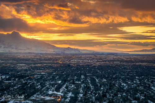 city winter sunset usa snow mountains utah wasatch cityscape snowcapped saltlakecity saltlake valley wintery jamesudall