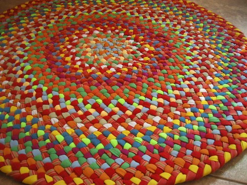 Beautiful Braided Round Rug from recycled fabrics