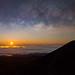 Milky Way Moonrise by geekyrocketguy