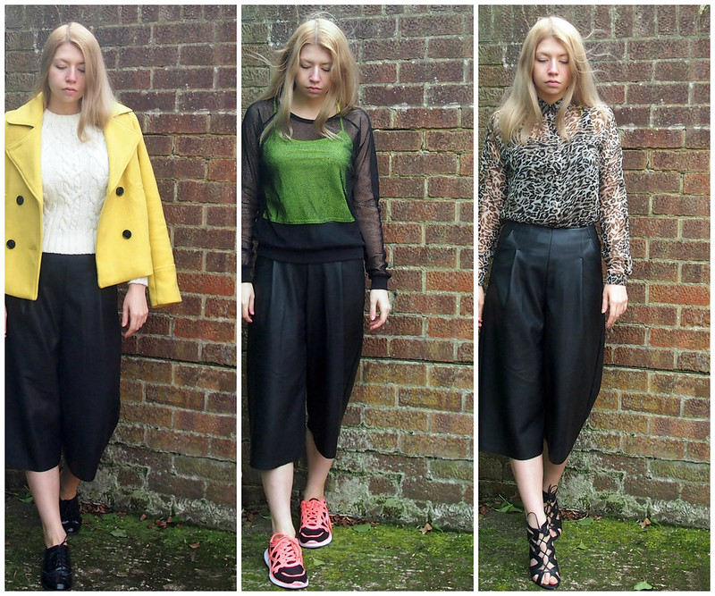 How to Wear Leather Culottes, High-Waisted, Miss Selfridge, Matalan, Yellow Pea Jacket, Pea Coat, Brogues, George at ASDA, Primark, Cable Knit, Neon, Crop Top, Fishnet Sweatshirt, Sports Luxe, Trainers, Running Shoes, Leopard Print Shirt, Lace-Up Heels, Sam Muses, UK Fashion Blog, London Style Blogger, SS15