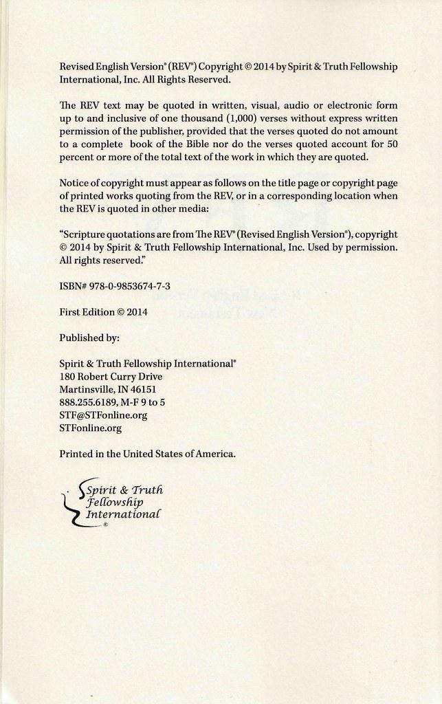 Revised English Version (REV) - Internet Bible Catalog