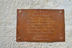 brown, text, commemorative plaque, metal,