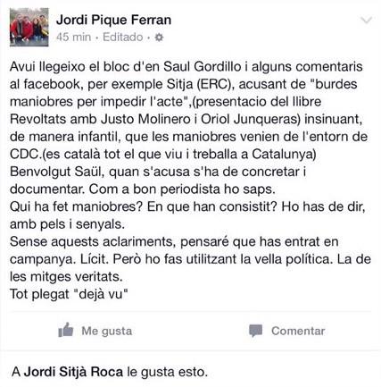 Jordi Piqué Ferran a Facebook
