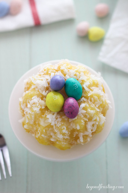 Serve up your Easter dessert with these Lemon Coconut Bundt Cakes filled with chocolate eggs.