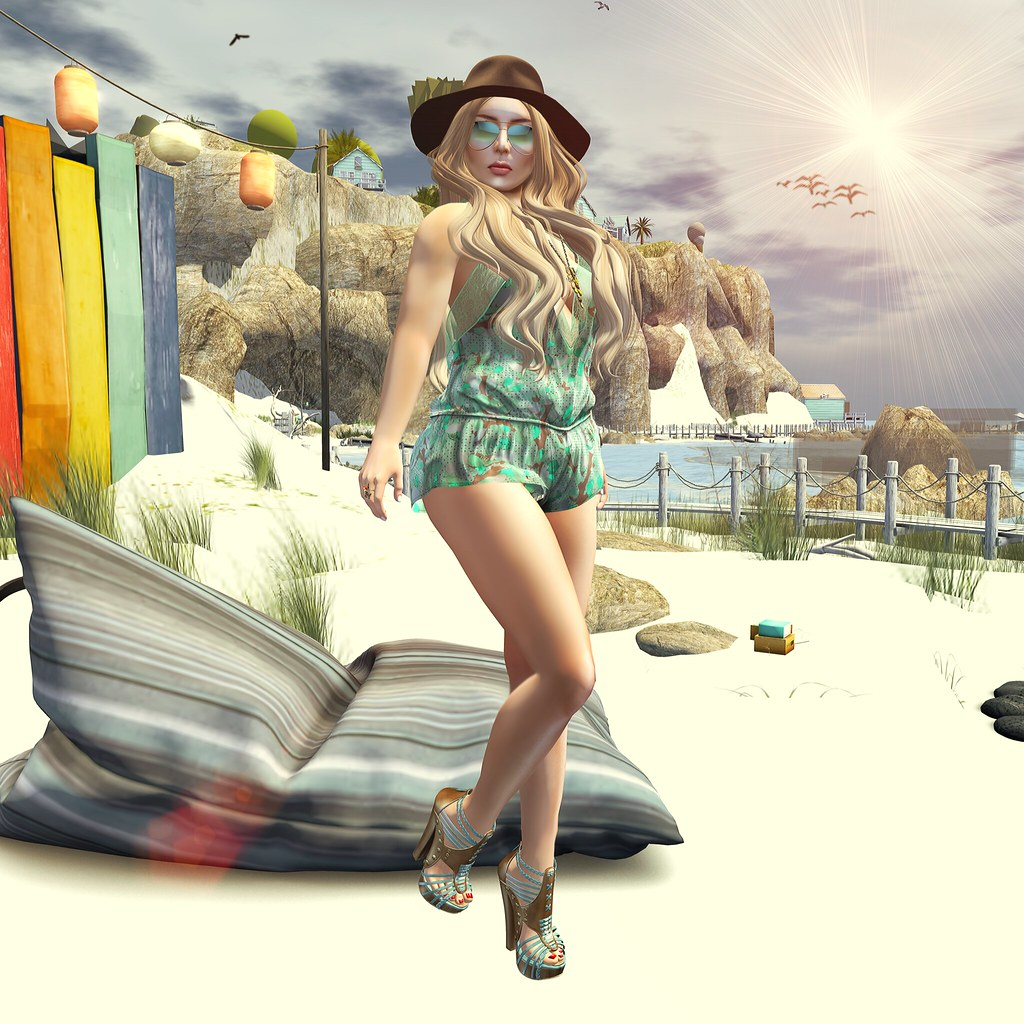 summer, uber, Secondlife, Second Life, Romper, Heels, Fishy Strawberry, Belleza, Eudora 3D, Redgrave, Fashion