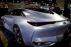 automobile, automotive exterior, exhibition, wheel, vehicle, performance car, automotive design, auto show, concept car, sedan, infiniti, land vehicle, luxury vehicle, supercar, sports car,