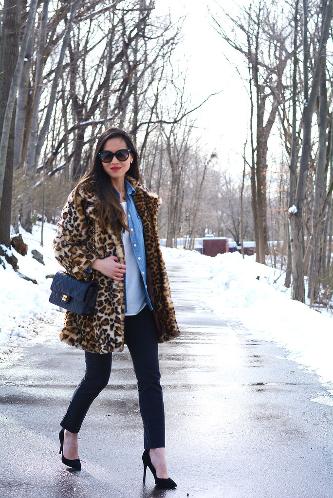 leopard faux fur coat, chambray shirt, black pants - winter outfit/fashion