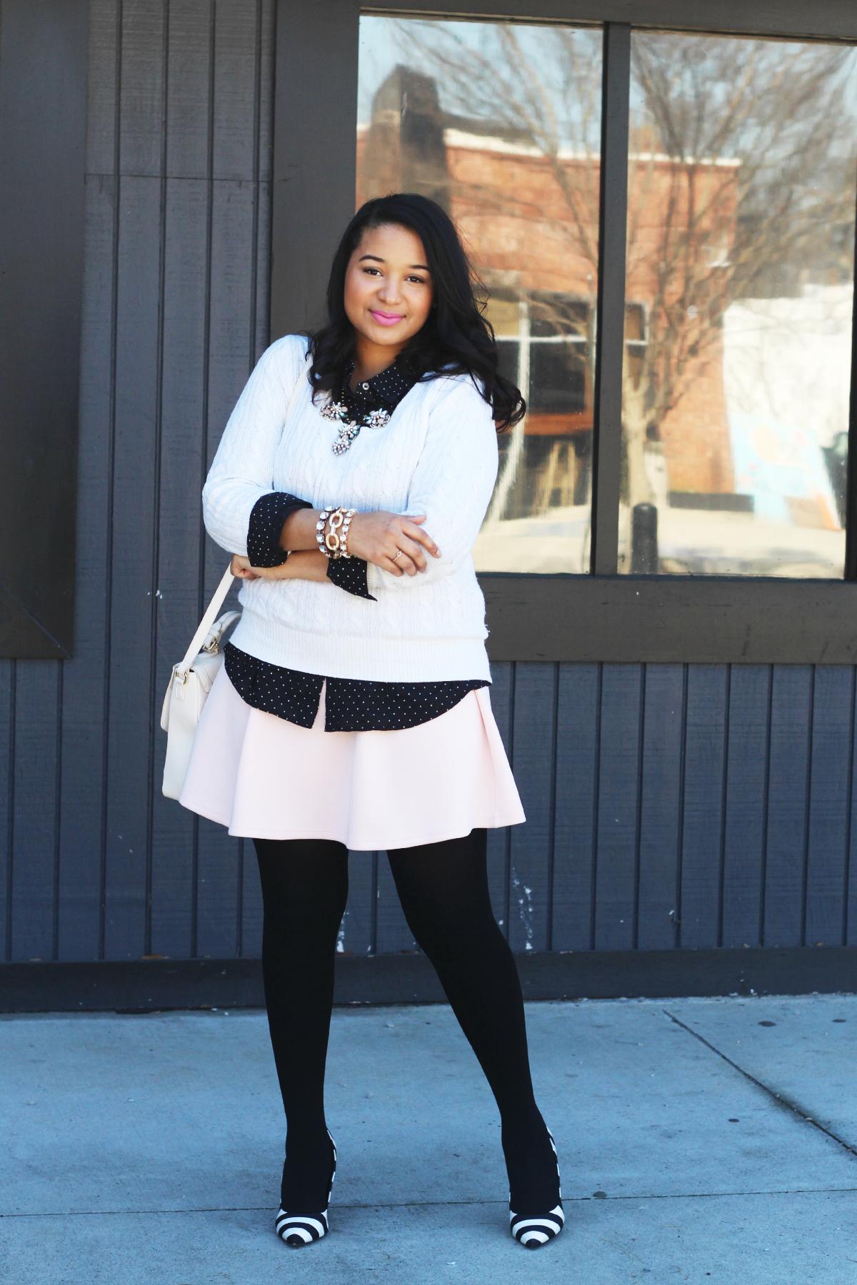 Polka Dot Button Up & Pink Skirt