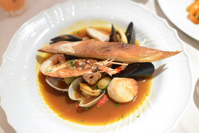 BRODETTO DI PESCE adriatic seafood soup, clams, langoustine, scallop, prawns, bass