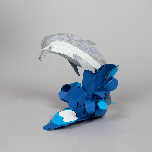 Paper Sculpture Dolphin by Julianna Szabo