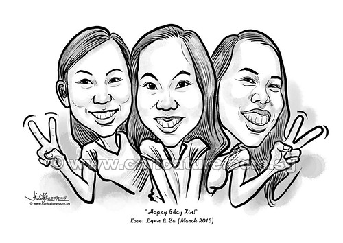 digital group caricatures of 3 girls (watermarked)