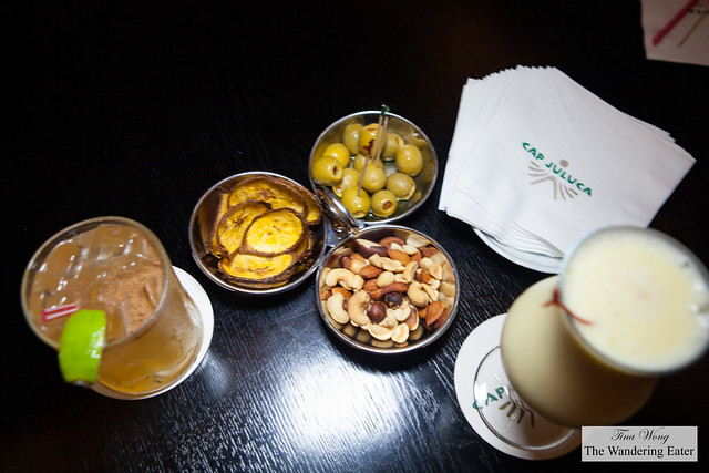 Cocktails and bar snacks