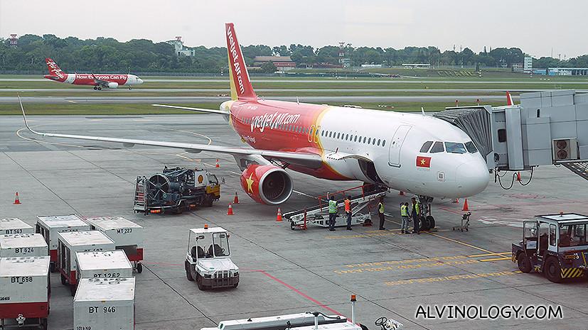 Vietjet Air plane at Changi Airport