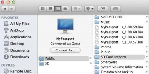 การ Browse ข้อมูลใน WD My Passport Wireless จากโปรแกรม Finder บน Mac SX