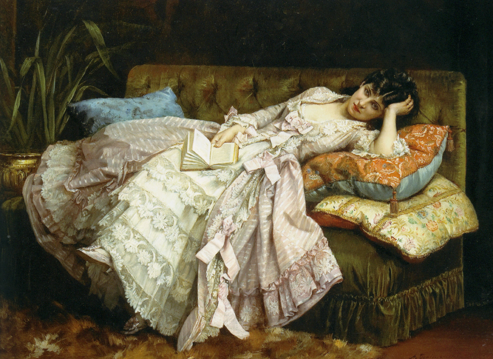 Sweet Doing Nothing by Auguste Toulmouche, 1877