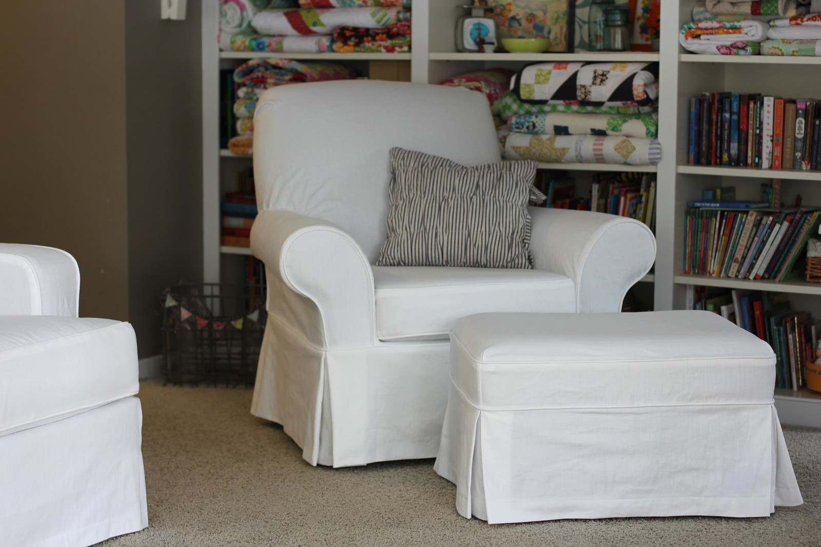 Twin Fibers White Slipcovered Chair And Ottoman