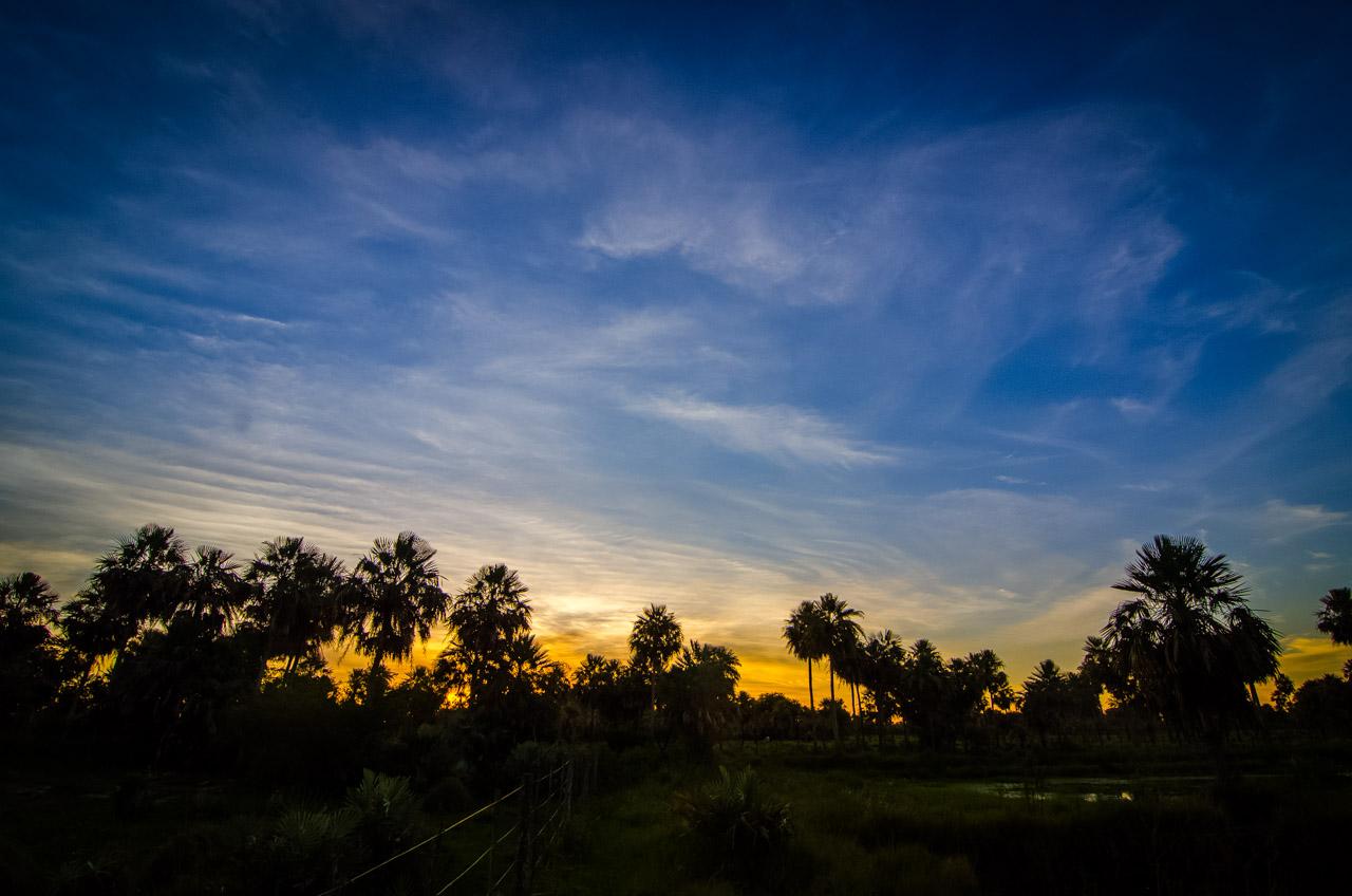 Atardece  en el Chaco Paraguayo, dejando un espectáculo de contrastes y colores, culminando en un crepúsculo que dura hasta las 20:30 horas de la noche. (Elton Núñez).
