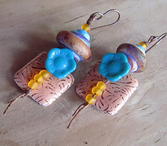 Turquoise and Orange Flower Earrings