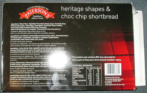 Reverse of Paterson's Shortbread Box