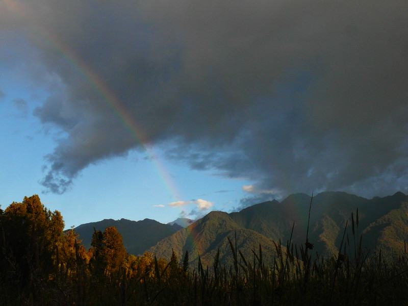 Double rainbow at Lake Matheson, Fox Glacier