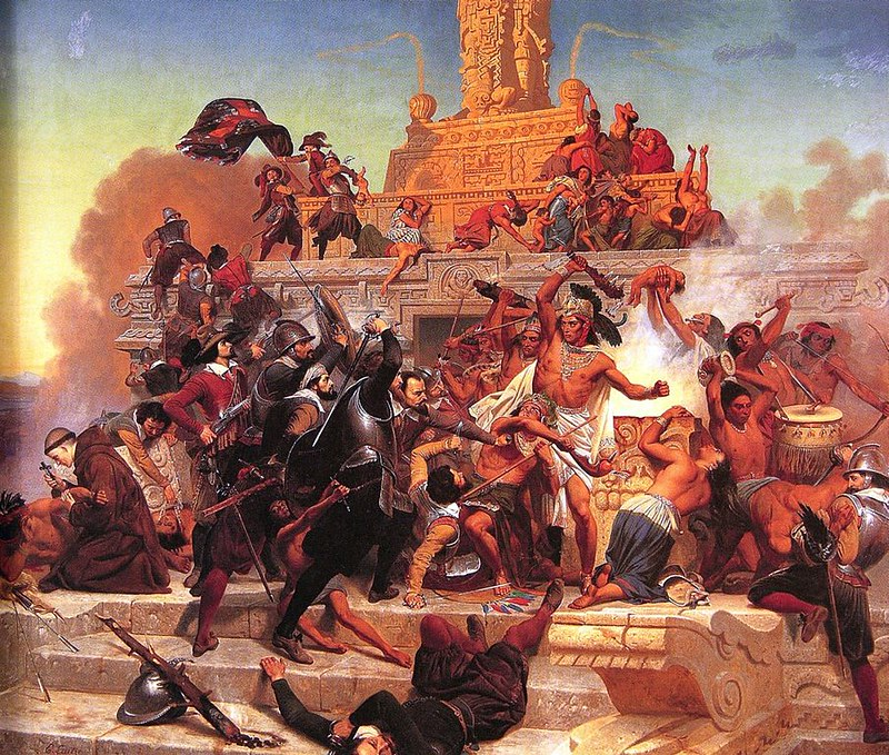 The storming of the Aztec Teocalli by Cortés and his troops, by Emanuel Leutze