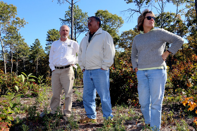 Leaders from The Trustees of Reservations, Mashpee Wampanoag Tribe and Orenda Wildlife Land Trust look at habitat restoration