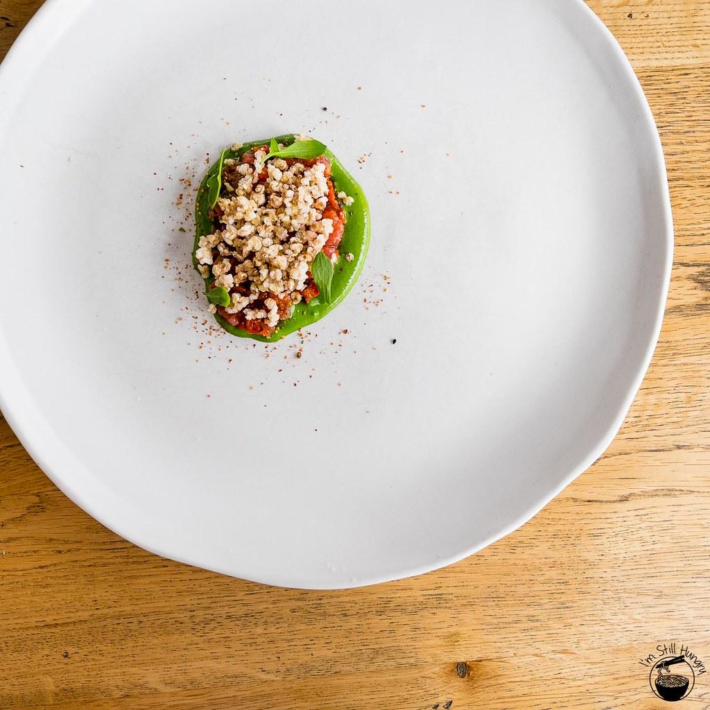 LuMi Dining Pyrmont Veal tartare w/roasted capsicum w/puffed quinoa & tarragon emulsion