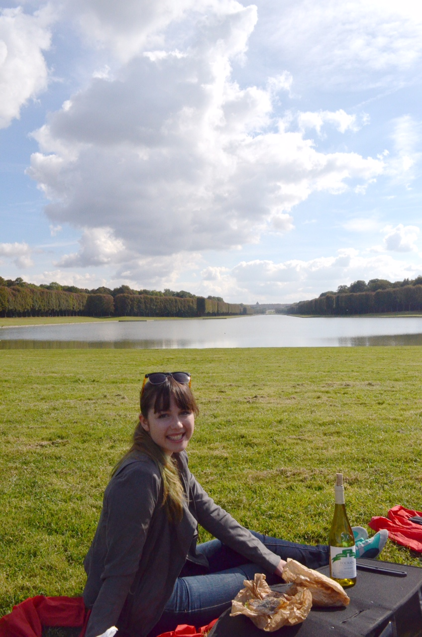2 Madison Meyer having a picnic on the grounds of Versailles Palace