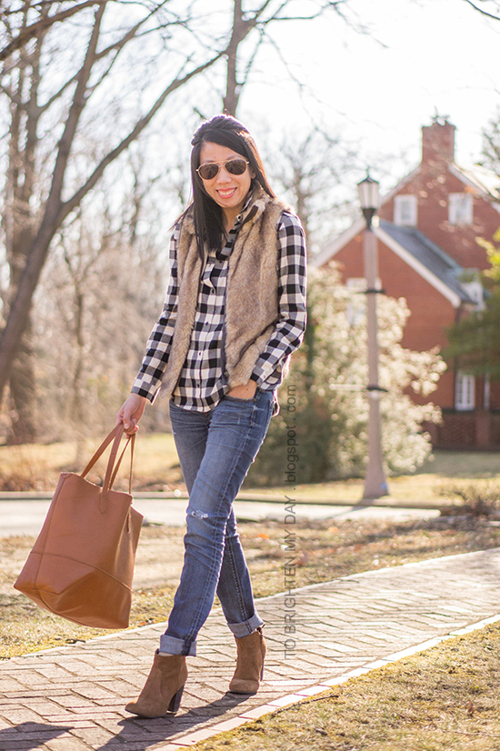 fur vest, buffalo checked top, brown suede ankle boots