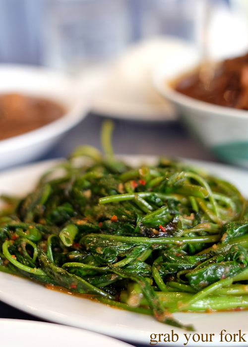 Kang kong water spinach with belacan at Peranakan Place, Auburn