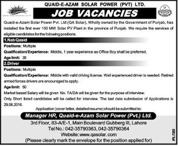 Quaid-e-Azam Solar Power Jobs