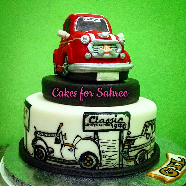 Mini Cooper Cake for a 70th Birthday by Cakes for Sahree