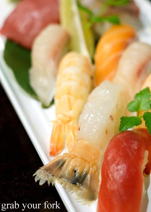 Raw scampi nigiri sushi at Ashin, Campsie