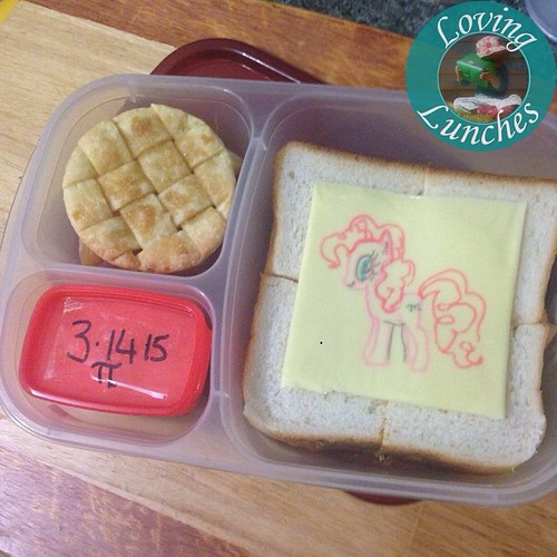 Loving tomorrow's #PiDay lunch for Miss M… couldn't go past her favourite pie- #PinkiePie ! In our @easylunchboxes #cheesart #easylunchboxes #mlp #MyLittlePony