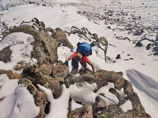 Sanja Scrambling on the East Ridge