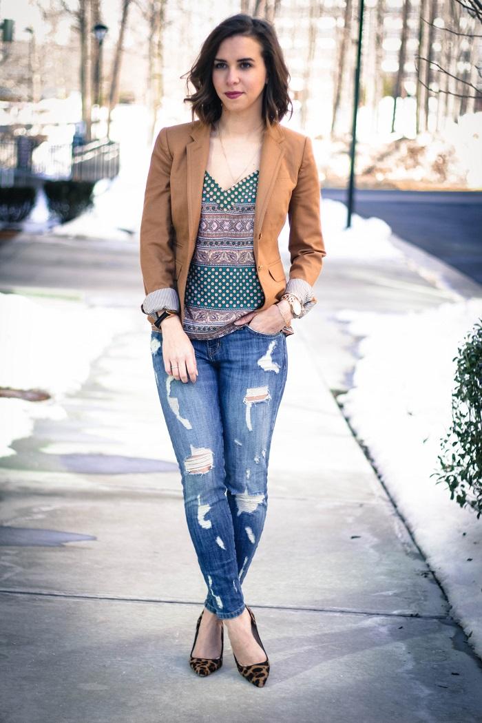 aviza style. andréa viza. fashion blogger. dc blogger. jcrew collection leopard calf hair heels. fashion. current elliott stiletto jeans. silk print cami. 9