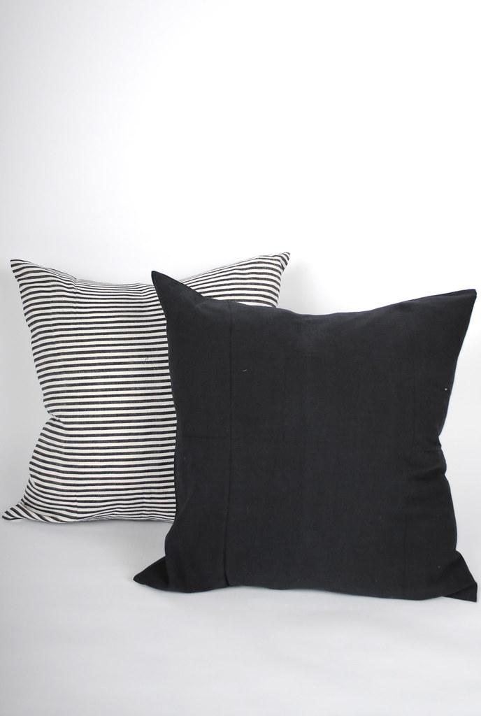 Medium Black and Horizontal Stripe Pillows