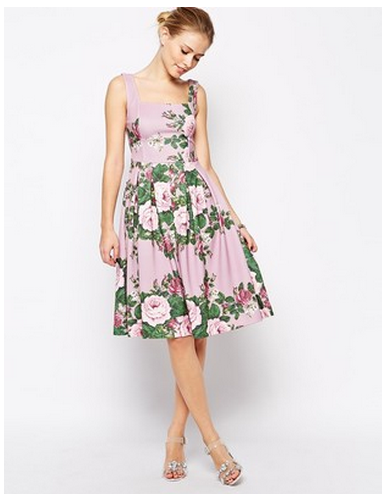 asos lilac rose midi dress